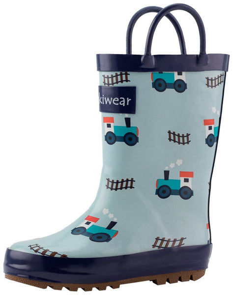 Size 10: Oaki Trains and Tracks NEW Rain Boots