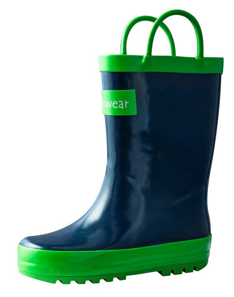 Size 4: Oaki Navy/Green Loop Handle NEW Rain Boots