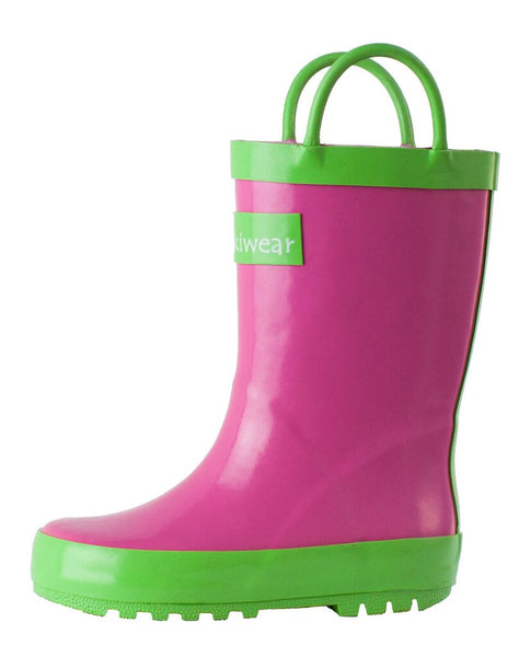 Size 4: Oaki Pink/Green Loop Handle NEW Rain Boots