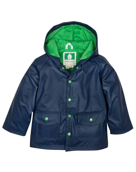 Oaki Navy & Green Lined Snap up Rain Jacket NEW 3