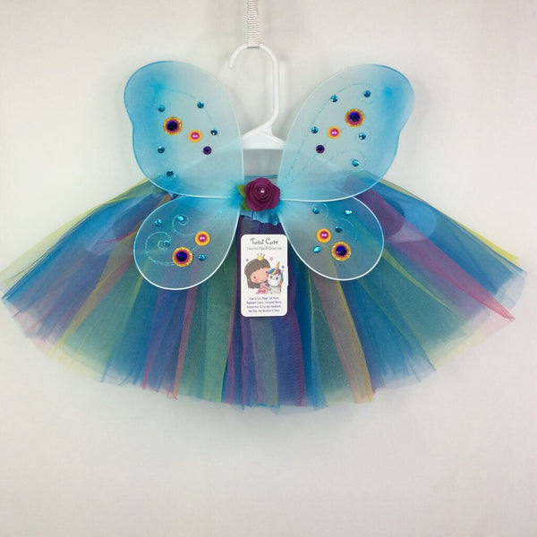 Tutu Cute Toddler Fairy Wings & Tutu Set 1-3T - Blue Rainbow