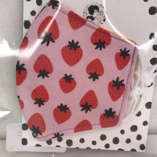 Kollodiworks Locally Made Children's Fitted Face Mask - Pink with Strawberries