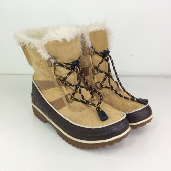 Size 3Y: Sorel Two Toned Tan and Brown Faux Fur Lined Waterproof Snow Boots