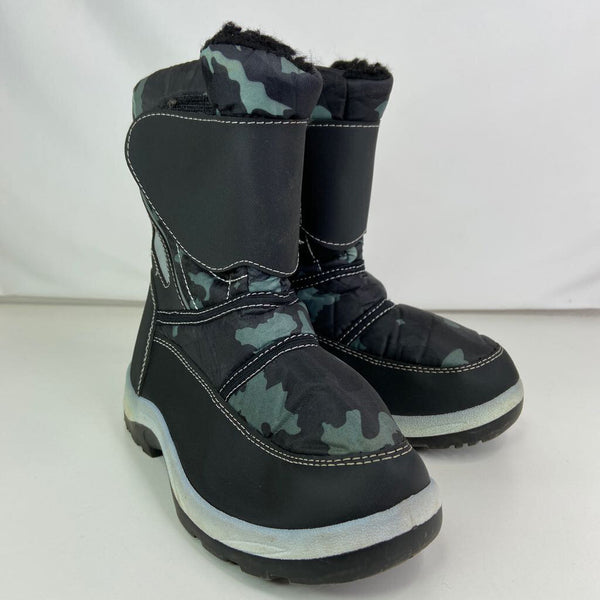 Size 3Y: Black and Mint Green Camo Fleece Lined Velcro Snow Boots
