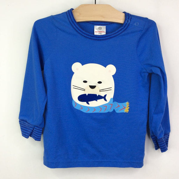 Hanna Andersson Blue with Polar Bear Long Sleeve T-Shirt 3 (90) NEW WITH TAG