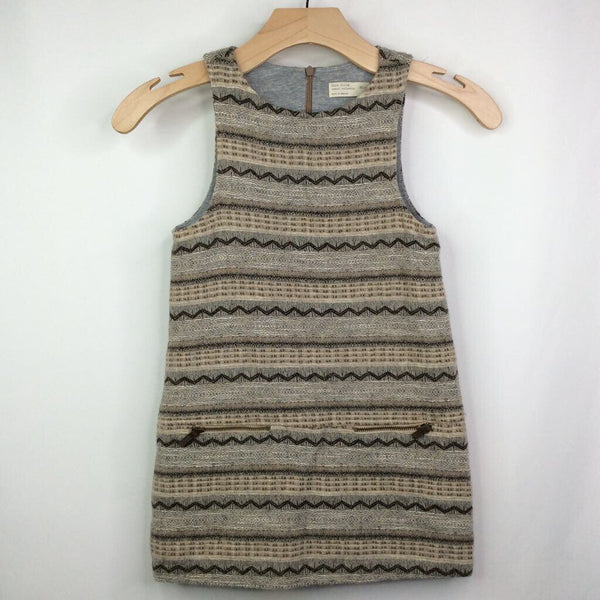 Zara Brown and Tan Woven Lined Wool Sleeveless Dress 6-7