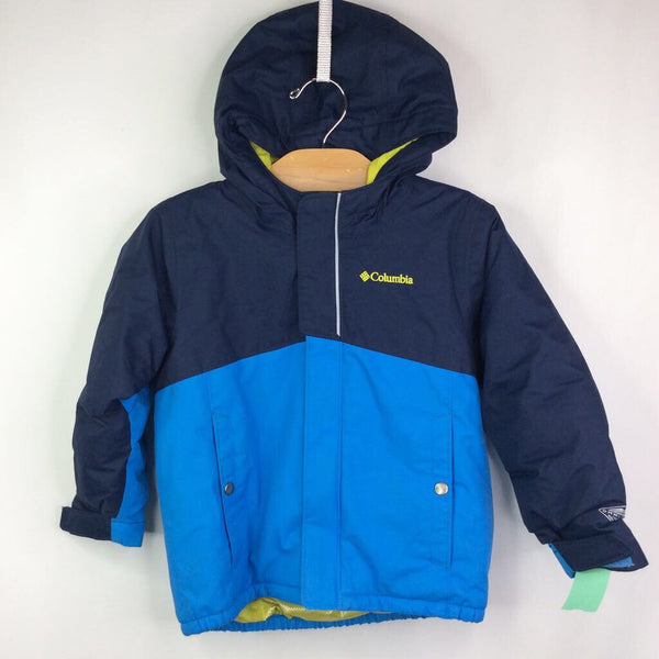 Columbia Omni Heat Navy/Blue Hooded Insulated Winter Coat 4