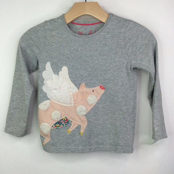 Boden Grey with Flying Polka Dot Pig Long Sleeve Shirt 6-7