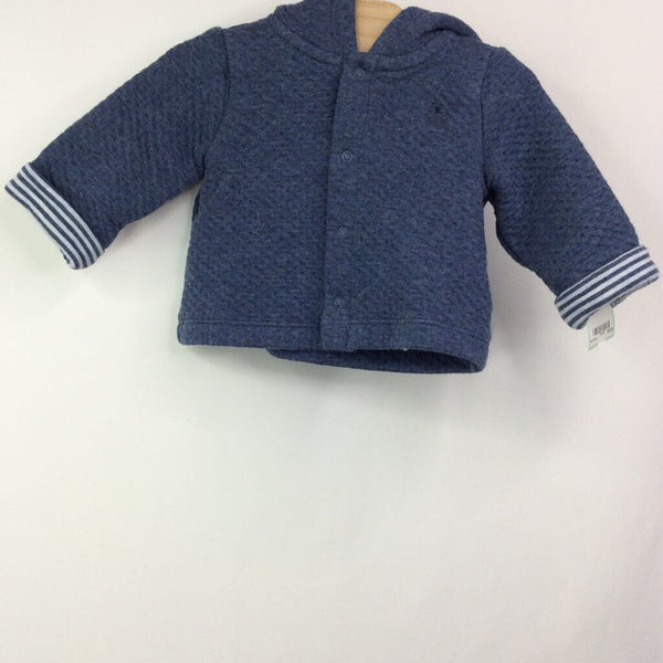 Gap Blue with Striped Cuffs Hooded with Ears Jacket NB-3m