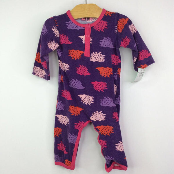Me Too Purple with Red/Pink Hedgehogs Long Sleeve Romper 6m-9m