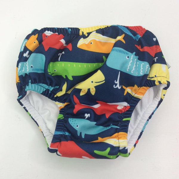 Green Sprouts Navy with Whales Swim Diaper 6m