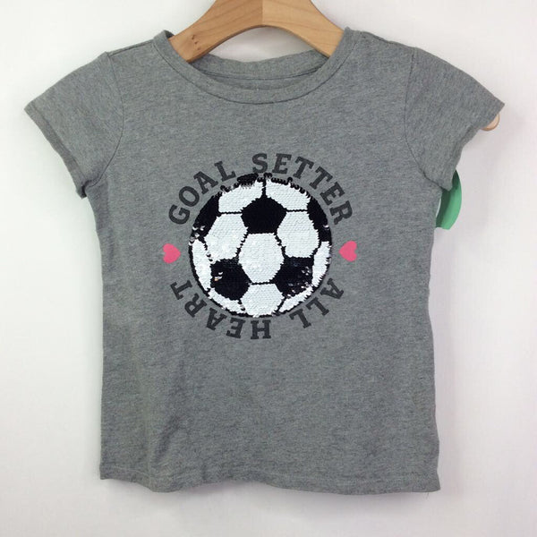 Rumi + Ryder Grey with Sequin Soccer Ball 'Goal Setter All Heart' T-Shirt 6-7