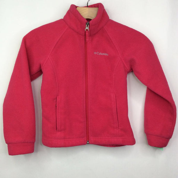 Columbia Hot Pink Zip Up Fleece Jacket 6-7 (XS)