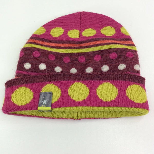 Size 6m-12m: Smart Wool Pink/Burgundy/Neon Green Merino Wool Beanie