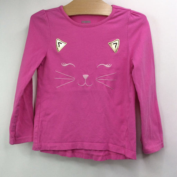 Size 4: Gymboree Cotton Candy Pink with Kitten Face Long Sleeve Shirt
