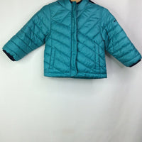 Size 2: Columbia Teal Hooded Puffer Jacket