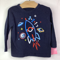 Size 12-18m: Gap Navy with Space Ship '3-2-1' Long Sleeve Shirt