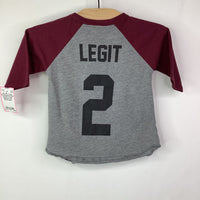 Size 18m: Trilogy Grey/Burgundy Back Graphic '2 Legit' Baseball Long Sleeve Shirt