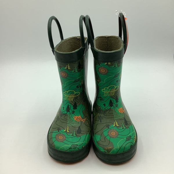 Size 5: Kamik Green Map Rain Boots