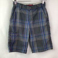 Size 8: Hawk Grey/Blue Plaid Shorts (Stain on back)