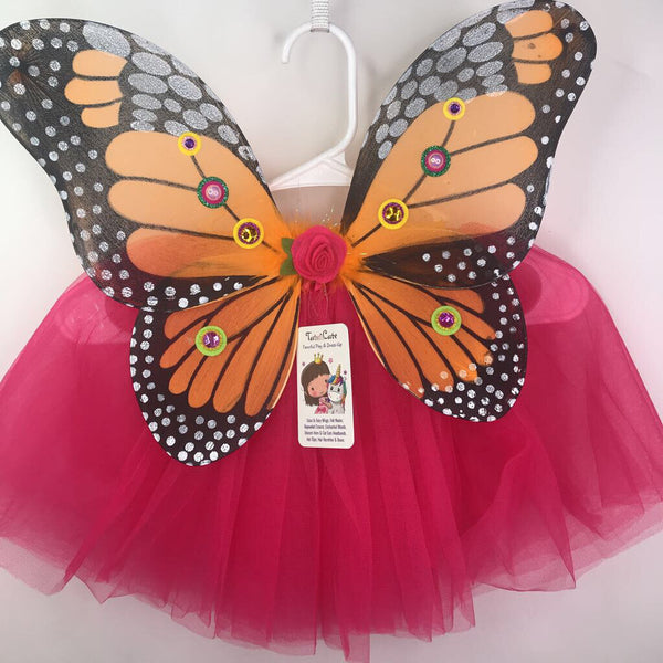 Size 3-6: Tutu Cute Child Fairy Wing & Tutu Set -Orange Monarch & Hot Pink Tutu