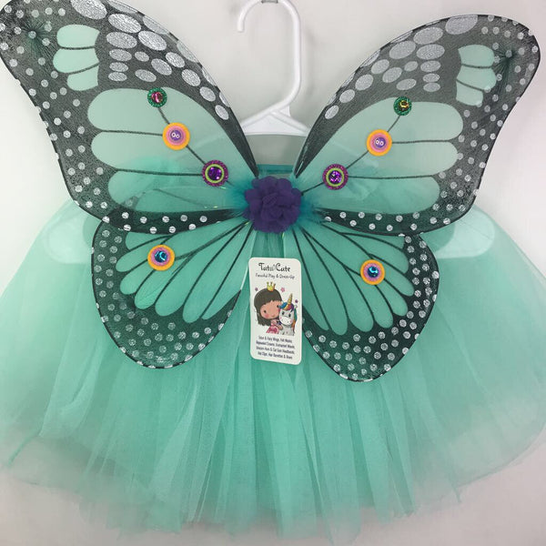 Size 3-6: Tutu Cute Child Fairy Wing & Tutu Set -Light Teal Monarch & Light Teal Tutu