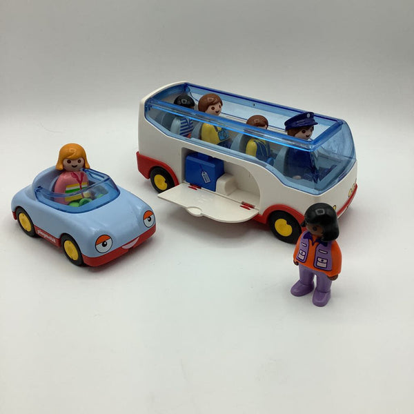 Playmobil 123 Plane and Shuttle Bus w/Pilot, Passengers & Car