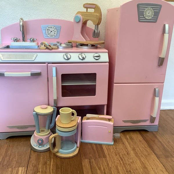 Kidkraft Pink Vintage Style Play Kitchen w/Fridge & Accessories
