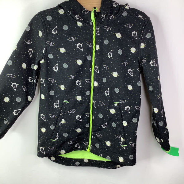 Size 4: Cat & Jack Black iwth Outer Space Pattern Hooded Fleece Lined Light Coat