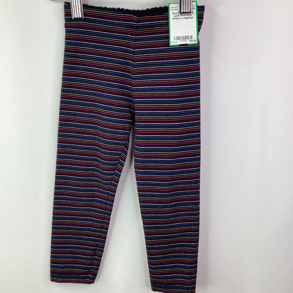 Size 3: Tea Black with Pink/Blue Stripes Leggings
