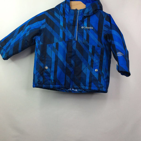 Columbia Blue Pattern Omniheat Hooded Coat 12-18m