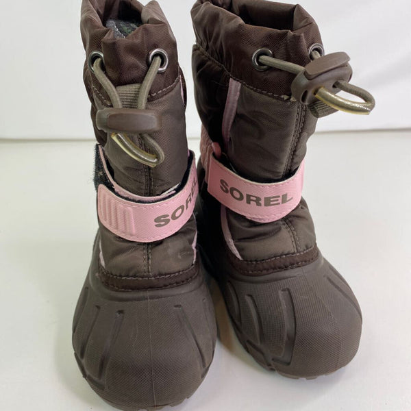 SOREL Brown/Pink 'Flurry' Velcro Strap Snow Boots 6T