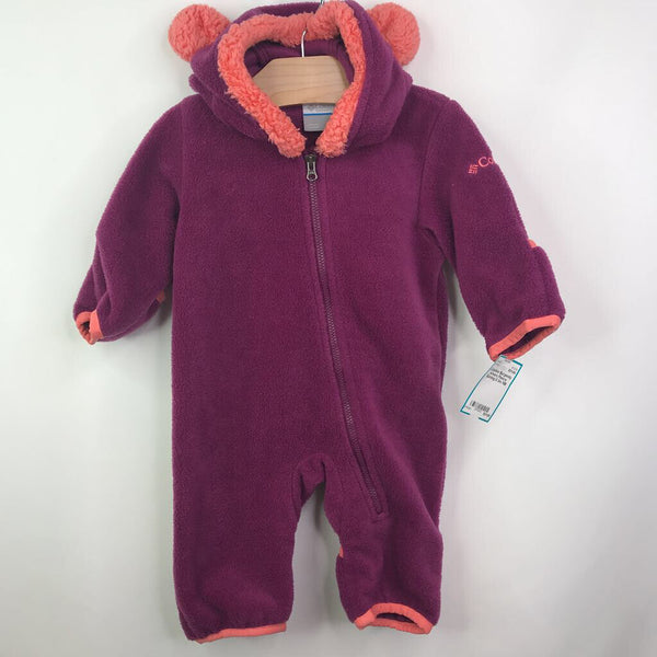 Columbia Burgendy w/ears Fleece Bunting 0-3m