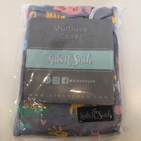grey w/kitty's/elephants/ zebras kids n'such multiuse cover (nursing cover and/or car seat cover) NEW in bag