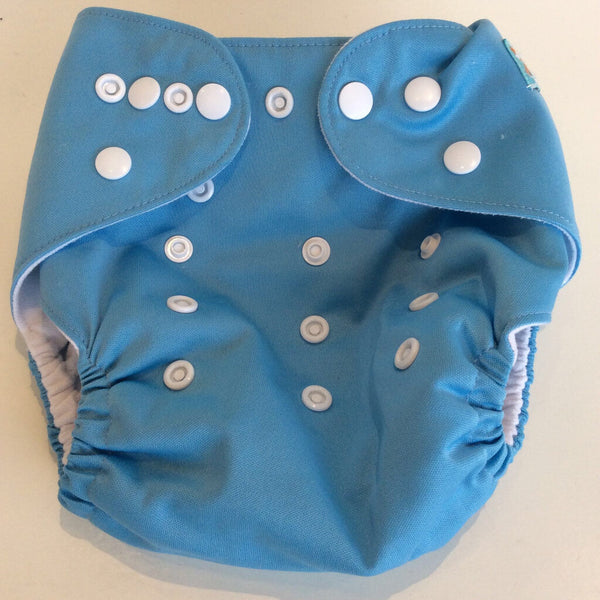Alva Baby Blue Snap up Adjustable Pocket Diaper  - OS