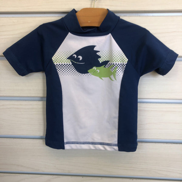 navy/white Al & Ray rash guard/bodysuit 12-18m