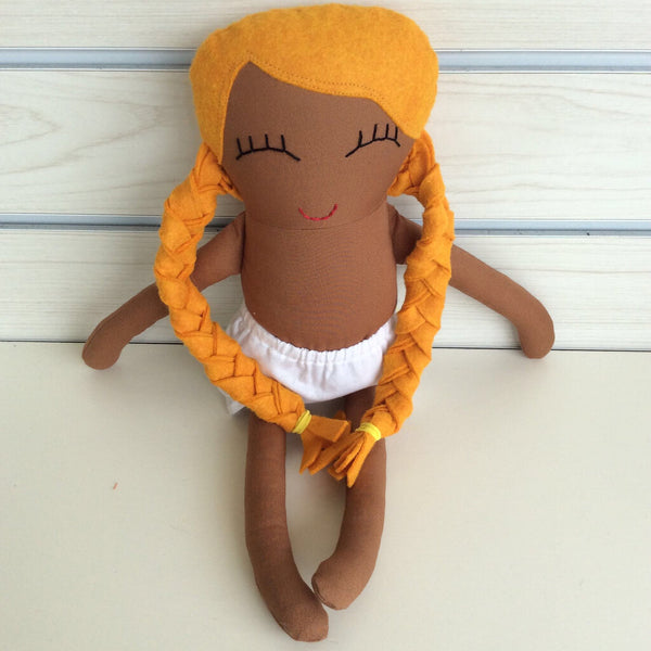 Handmade by Seng - girl doll w/caramel brown skin & gold hair