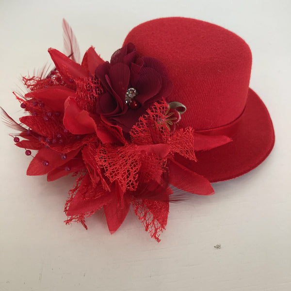 Tutu Cute Large Hat Hair Clip - Red
