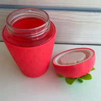 Strawberry Silicone outside with glass inner Cup/Container