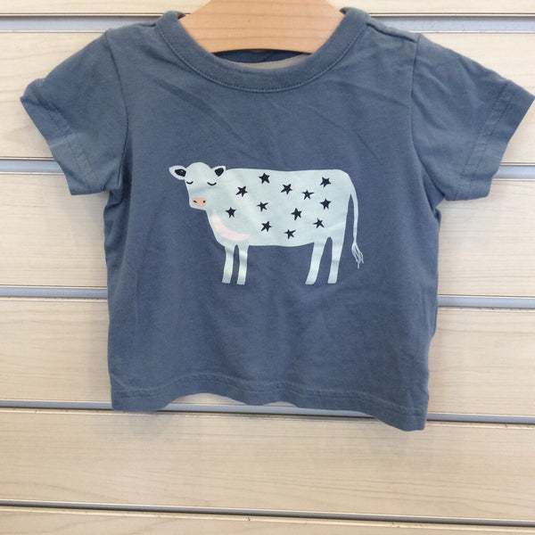 Hanna Andersson Blue W/Stared-Cow Shirt 6-12m(70)