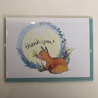 Clover Brown Locally Made Watercolor Greeting Card - Fox/Butterfly 'Thank You' (medium)