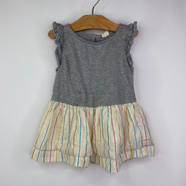 Baby Gap Grey w/ Bottom Shinny Stripes Dress 12-18m