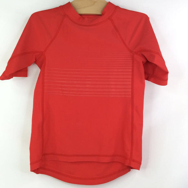 H&M Short Sleeve Red W/Rubber Chest Lines Rash Guard/Swim Shirt 4-6