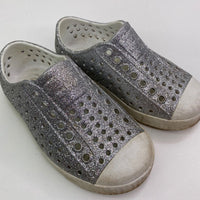 Natives Silver Sparkle-Perforated/White Slip-On Shoes 8T