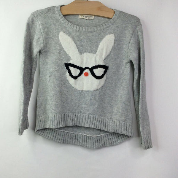 Tucker + Tate Light-Gray W/Cat-Eyeglass Wearing Bunny High/Low Hem Sweater 3