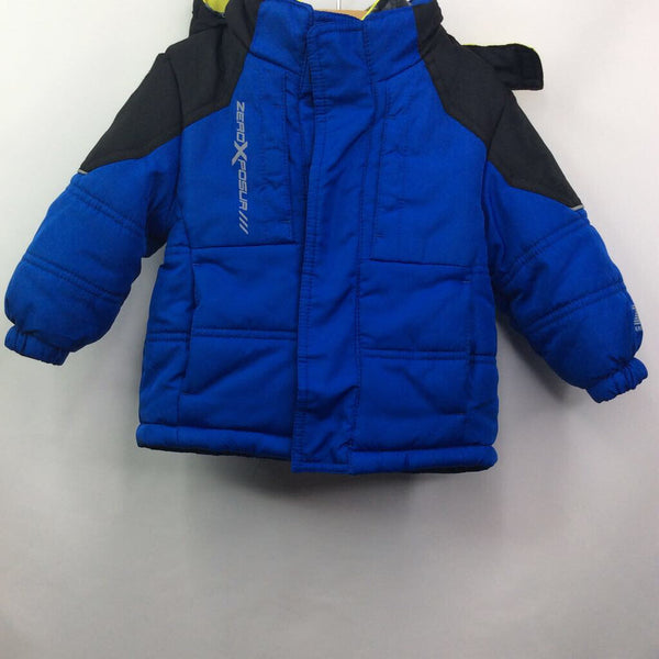 Zero Xposure Blue/Black Camo-Print/Black-Fleece Lining Hooded Winter Coat 12m
