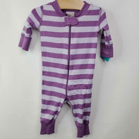 1pc Hanna Andersson Organic Zip up Purple Striped Pjs 0-3m (50)