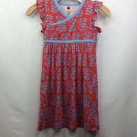 Tea Collection Cap Sleeve-Ruffled Red W/Blue Flowers/Cross-Top Empire Waist Dress 7