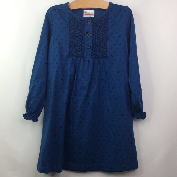Hanna Andersson Long Sleeve Blue W/Black-Hearts/Ruched-Button Upper Dress 5 (110)