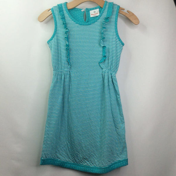 Hanna Andersson Sleeveless Teal/White-Stripes/2 Ruffled Side Panels Dress 8 (130)